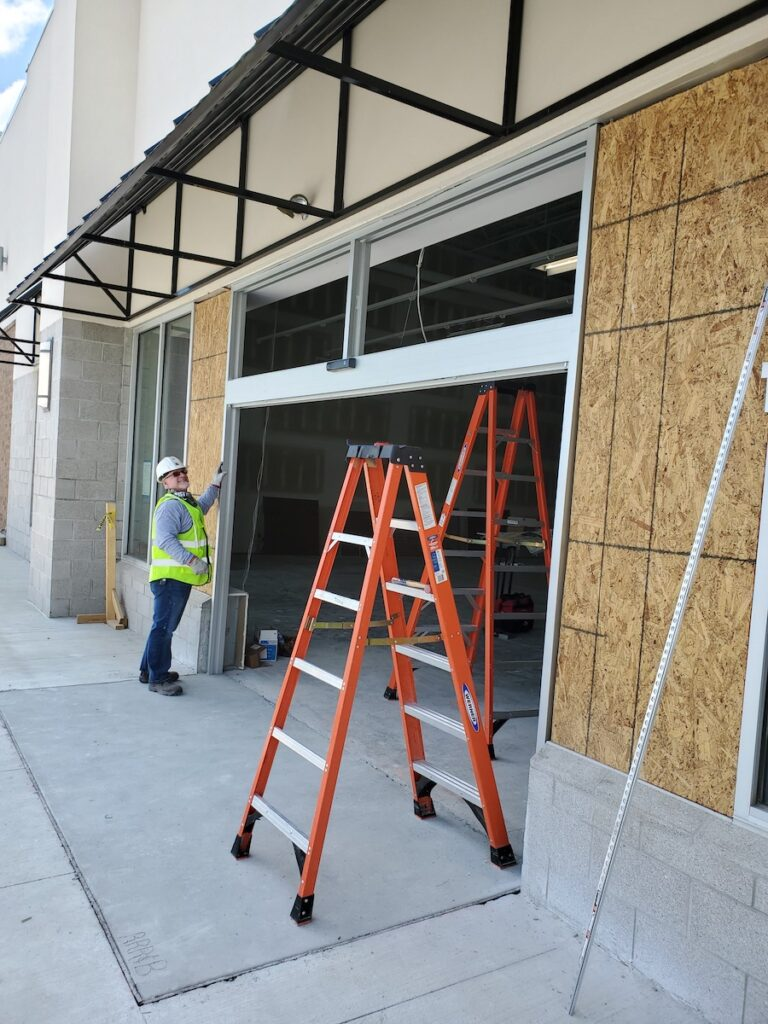 Early phase shot of automatic sliding door installation for Pet Supplies Plus