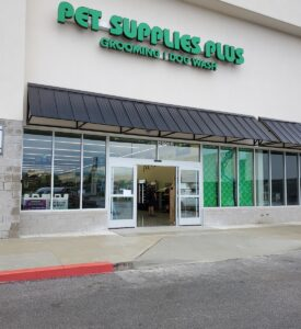 Outdoor shot of new automatic sliding doors at Pet Supplies Plus